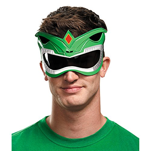 Disguise Men's Green Ranger Adult 1/4 Costume Mask, Green, One Size
