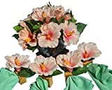 Hospitality Florals Tropical Pink Hibiscus Centerpiece Ensemble with 4 Matching Mango Wood Napkin Rings