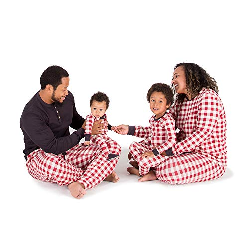 Burt's Bees Baby Family Jammies, Buffalo Check, Holiday Matching Pajamas, 100% Organic Cotton, Cranberry, Womens Small