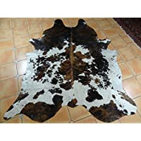 Tricolor Brazilian Cowhide Rug Tri Cow Hide Skin Leather Area Rug Exotic (Medium 5ft X 4ft)