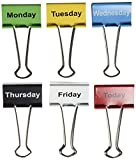 Top Notch Teacher Products Days of The Week Binder Clips (6 Pack), 2''