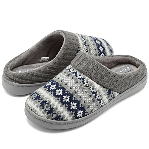 (CIOR Fantiny Women's Memory Foam House Slippers Sweater Knit Embroidered Pattern and Ribbed Hand-Knit Collar-U1MTW014-Navy Blue-40-41)