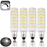 Bonlux 4-Packs Dimmable 6W E14 LED Candle Light Bulb Cool White 6000K 50W Halogen Replacement Small Edison Screw SES LED Corn Lamp for Ceiling Fan, Chandelier, Indoor Decorative Lighting, Beside Lamp, Desk Lamp