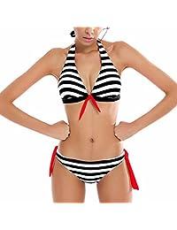 2017 TISHOW Bikini Swimsuit Fashion Black Stripe Two Pieces Swimsuit Lovely Swimwear