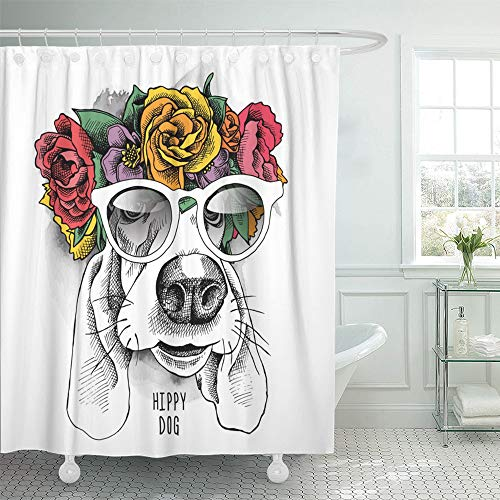 Emvency Shower Curtain 72x78 Inch Home Postcard Decor Flower Basset Hound Hippie Portrait in Floral Head Wreath Glasses Crown Animal Dog Shower Hook Set are Included