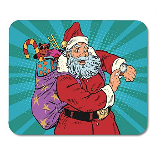 (Emvency Mouse Pads Red Arrow Santa Claus Shows Clock New Year Mouse Pad for notebooks, Desktop Computers mats 9.5