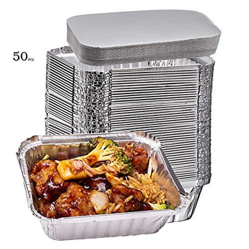 (Elite Selection 1lb Aluminum Foil Pans - Reusable and Disposable Foil Pans - Stackable Foil Pans with Board Lids - Oven & Freezer Safe - 50 Piece Set (1LB Board Lids))