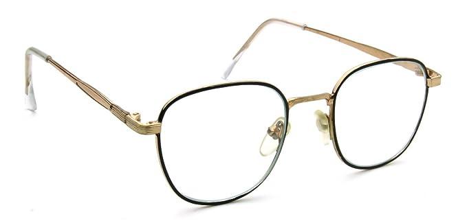 small blackgold eyeglasses square clear lens metal frame retro vintage fashion glasses