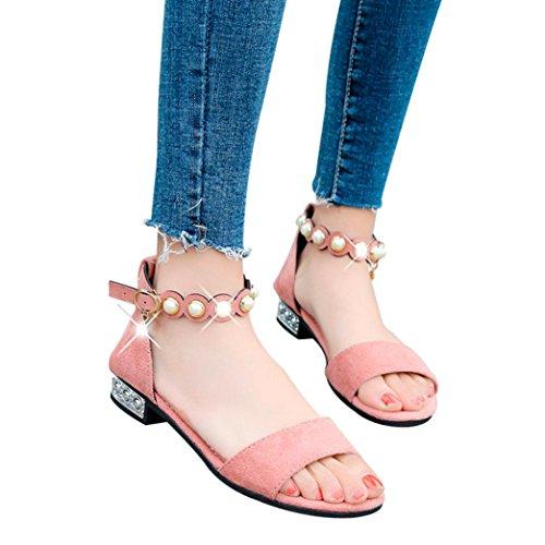 FORUU Women Fashion Solid Rome Style Pearl Low Heel Peep Toe Crystal Sandals (36, Pink) by FORUU womens shoes