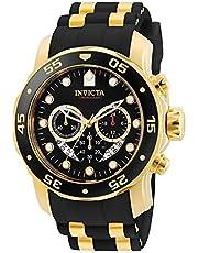 Invicta Men's Pro Diver Scuba 48mm Gold Tone Stainless Steel Quartz Watch with Black Silicone Strap, Black (Model: 6981)