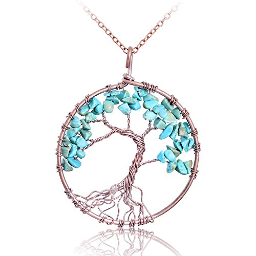 Vintage Handmade Nature Tumbled Raw Turquoise Stone Copper Tree of Life Necklace Semi Precious Stone Wire Wrapped Family Root Healing Birthstone Tree …