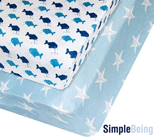 Simple Being Fitted Crib Sheet Nursery Bedding, 2 Pack Jersey Cotton for Standard Crib and Toddler Mattresses (Sailor)