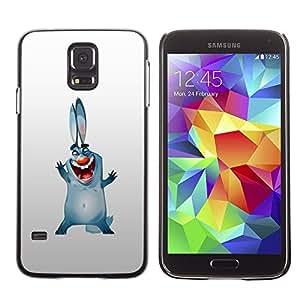 TECHCASE**Cubierta de la caja de protección la piel dura para el ** Samsung Galaxy S5 SM-G900 ** Bunny Dog Ears Big Blue Cartoon Drawing Smile