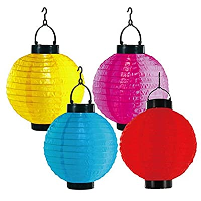 Colourful Weather Resistant Nylon Chinese Lantern Solar Light for outdoor Garden Party Decor