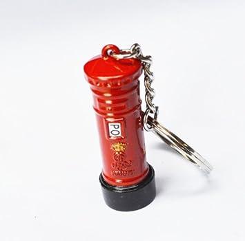 BeeSpring The Streets of London Red Pillar-Box Post Box Model Mailbox Post Box Charm Keyring Key Ring Creative Key Chain British Tourist Souvenirs ...