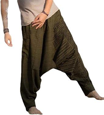 Shuangrun Pantalones Casuales Para Hombre Estilo Hippie Estilo Bohemio Aladino Pantalones De Yoga Verde Verde 27 32 Amazon Es Ropa Y Accesorios
