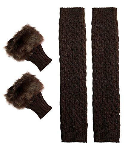 Short Women Crochet Boot Cuffs Winter Cable Knit Leg Warmers & Winter Gloves