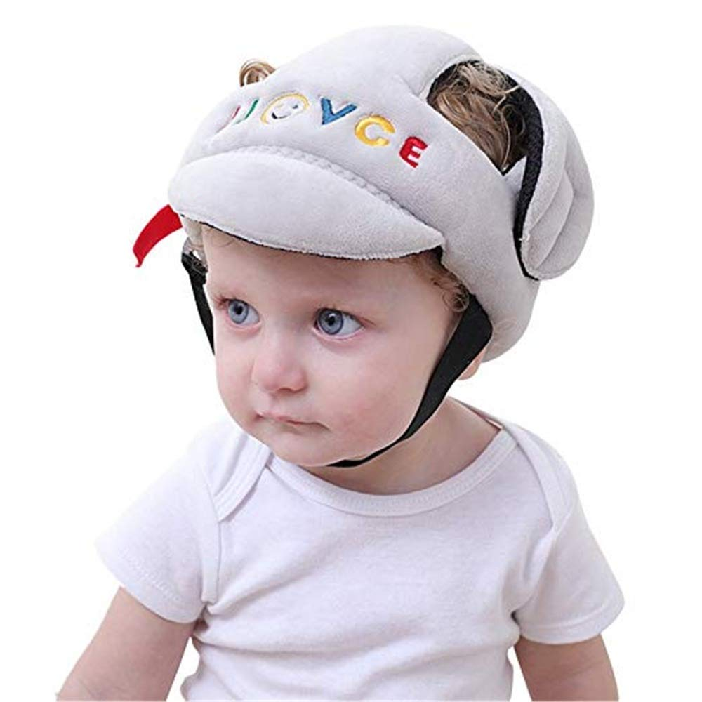 Baby Adjustable Safety Helmet,Toddler Protection Safety Hat Infant Protective Cap for Biking and Walking, Rabbit Pattern (Color : Gray) canyixiu