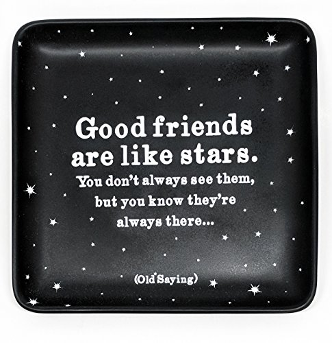 (Quatable Inspirational Ceramic Trinket Dish Jewelry Tray Snack Plate Ring Holder (Good Friends are Like)