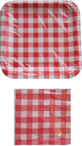 Red and White Checkered Gingham Square Paper Plates