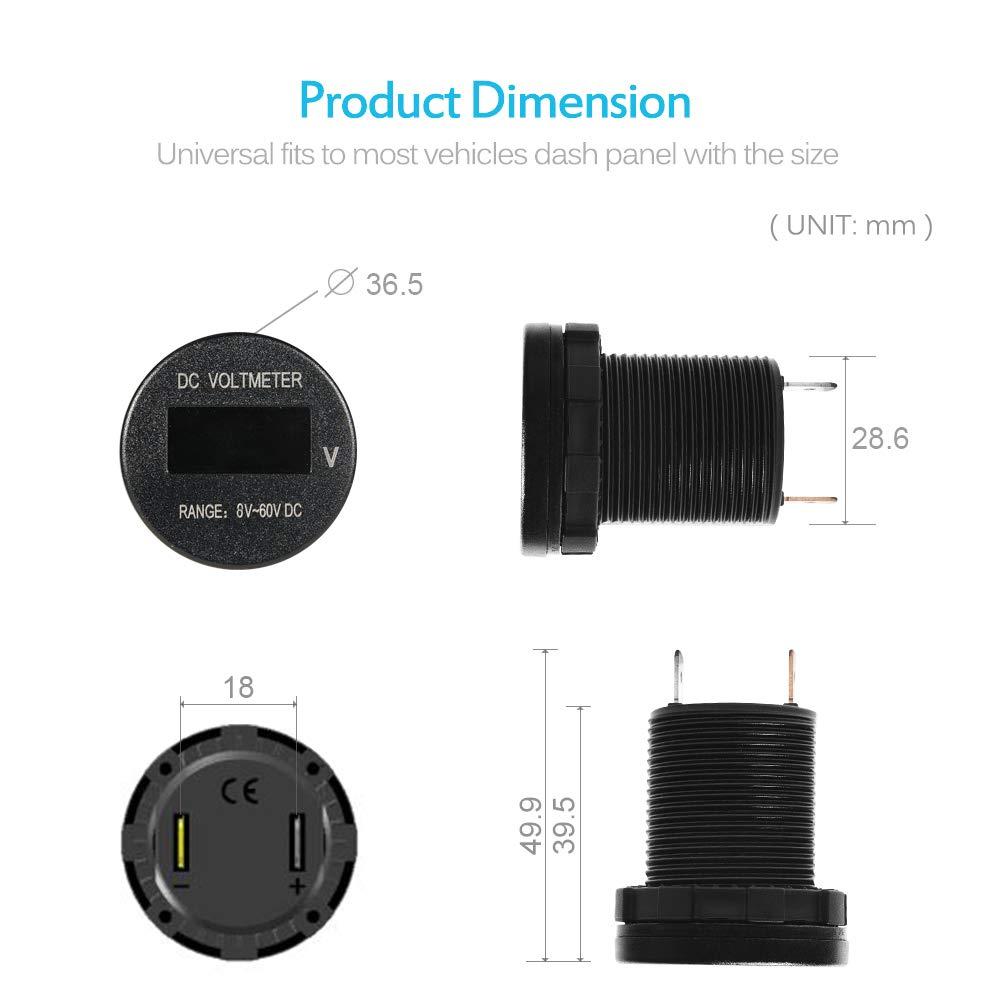 Mictuning Oled Digital Voltmeter Gauge Dc 8 60v Battery Monitor For Motorcycle Car Rv Pickup Truck