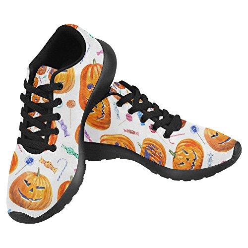 Interestprint Mujeres Jogging Running Sneaker Ligero Go Easy Walking Casual Confort Deportes Zapatillas De Running Patrón De Halloween Con Calabaza Jack-o-lantern, Lollipop Y Candy Multi 1