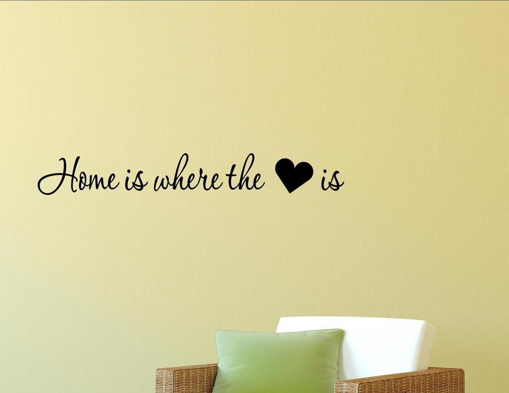 Vinyl Quote Me Home is Where The Heart is Vinyl Wall Saying Quote Words Decal