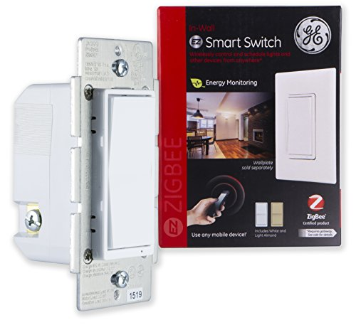 - GE ZigBee Smart Lighting Control Switch, In-Wall, On/Off, LED & CFL Compatible, Energy Monitoring, HA1.2, White & Light Almond Paddles, Works with Echo Plus, Echo Show, and Deco M9 Plus, 45856GE