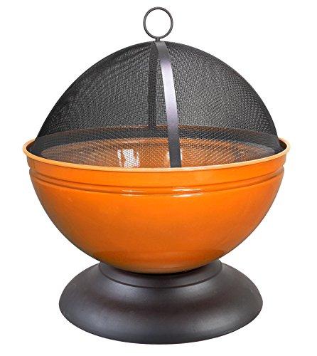 La Hacienda UK 0841-3692 Enameled Firepit with Cooking Grill, Orange