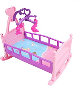 Doll Bed Toy, Large Simulation Princess Baby Doll Furniture Nursery Crib Bed for Kids and Toddlers Toys