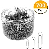 Codall Paper Clips, 700 Pieces Sliver Paperclips, Small Sizes 28mm, Medium 33mm and Jumbo Sizes 50mm, Office Clips for School Personal Document Organizing Professional Work