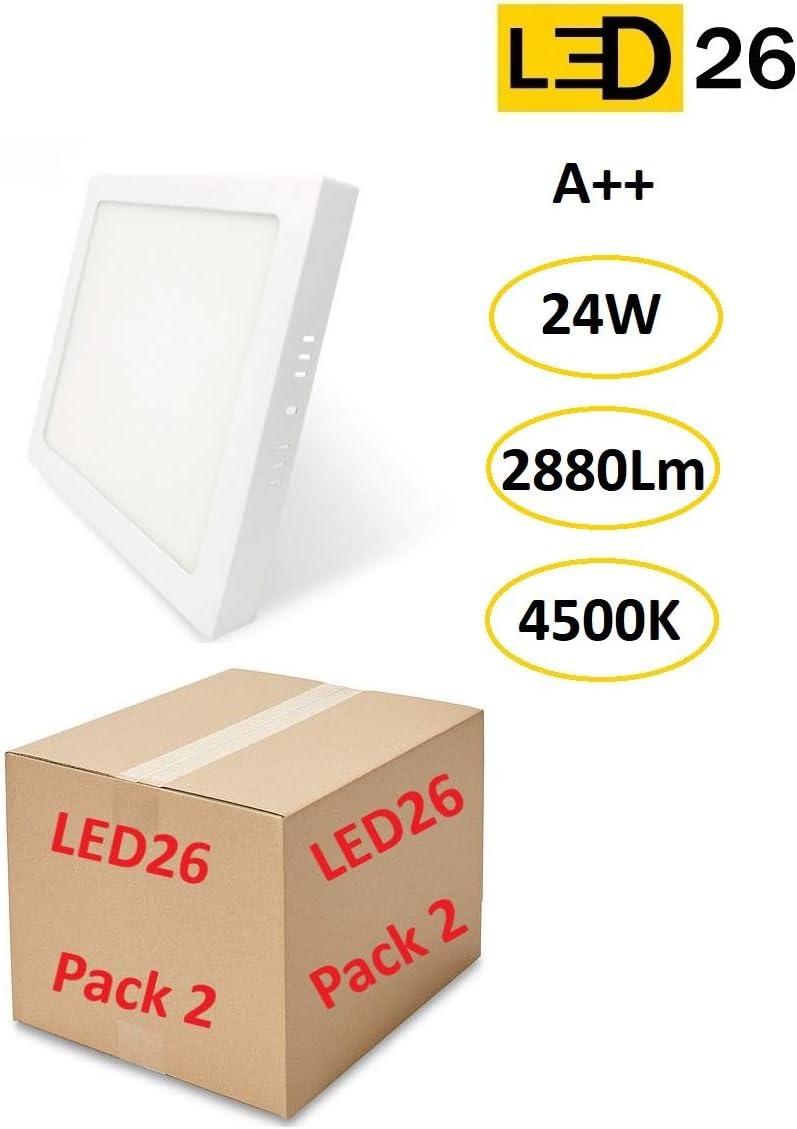 Pack 2Pcs Plafones de Techo LED 24W 2880lm Blanco Neutro 4500k Cuadrado Superficie Panel LED Iluminacion Para Sala de Estar, Comedor, Dormitorio, Oficina, Tienda