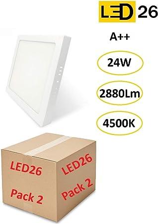 PACK DE 2 Plafones de Techo LED 24W 2880lm Blanco Neutro 4500k Cuadrado Superficie Panel LED Iluminacion Para Sala de Estar, Comedor, Dormitorio, Oficina, Tienda: Amazon.es: Bricolaje y herramientas