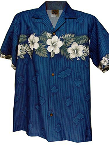 Mens New Cotton Hawaiian Shirt - Hawaiian Shirt Hawaii New Hibiscus Aloha Shirtin Blue (XXL)