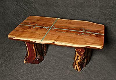 Cedar Slab Table with Natural Living Edges and Four Directions Turquoise Inlay