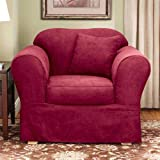 Sure Fit Suede Supreme 2-Piece Chair Slipcover, Burgundy