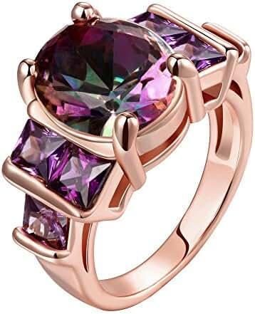 Swarovski Gemstone Emerald Cut Personalized Amethyst Fashion Rings for Women Size 8-10