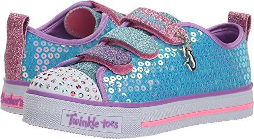 Skechers Kids Girls' Twinkle LITE-Mermaid Magic Sneaker, Turquoise/Multi, 1 Medium US -