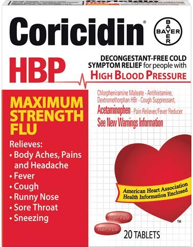 Coricidin HBP Maximum Strength Flu Relief - 20 Tablets, Pack of 6