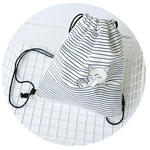 TOMATO-smile - Bolso mochila  de Lona para mujer azul borgoña Schöne Katze