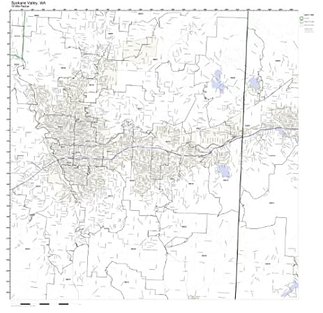 Amazoncom Spokane Valley WA ZIP Code Map Laminated Home Kitchen