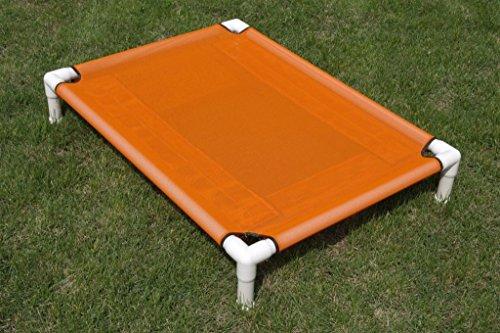 "Large Elevated Bed, Raised Bed, Outside Mesh Dog Bed, Dianes K9 Creations, Handmade PVC Dog Cot, Dog Hammock, Dog Bed Orange, Mesh Dog PVC Pipe Cot Size 36""x48""x8"