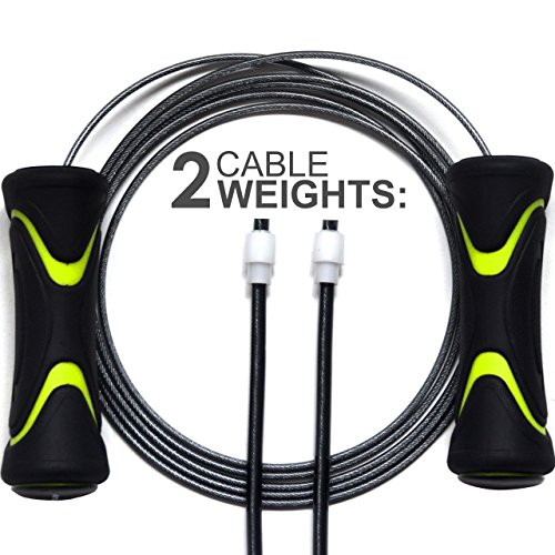 QUICKPLAY PRO Speed Jump Rope - 2 Cables (Thin for Speed + Thick for Power Endurance) Premium Speed Rope for Exercise & Training Cardio Fitness, Boxing Rope & Skipping Rope - NEW FOR 2017 -