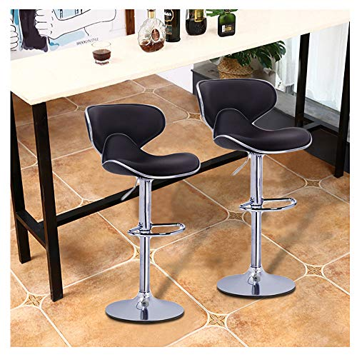 ZGstore Bar Stools Set of 2- Bar Chairs, Bar Stools Counter Height Leather Swivel Stool Adjustable 360° for Pub Kitchen 15×16×32 Inch (Brown) ()