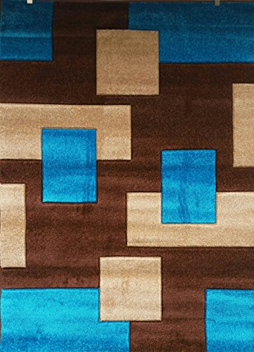 VEGAS # Modern Area Rug Turquoise Collection Design # 1002 (7'9