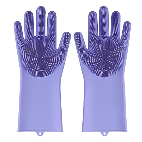 Multi Purpose Gloves with Scrubber-Silicone Rubber Cleanning Gloves for Dishwashing/Car Washing/Pet Hair Washing (PURPLE)