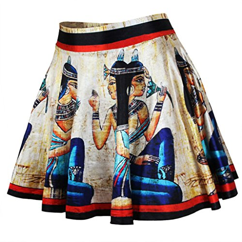 Ancient Egyptian Dress (Womens Fashion Ancient Egyptian Culture Printed Basic Versatile Flared Skater Skirts)