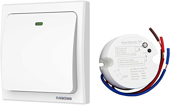 Acegoo Wireless Lights Switch Kit No Wiring No Battery Quick Create Or Relocate On Off Switches