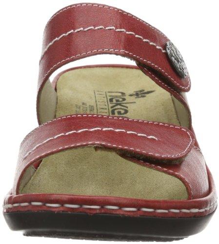Rieker 67182 - Zuecos de cuero para mujer, color negro, talla 36 Rojo (Rot (rosso 33))