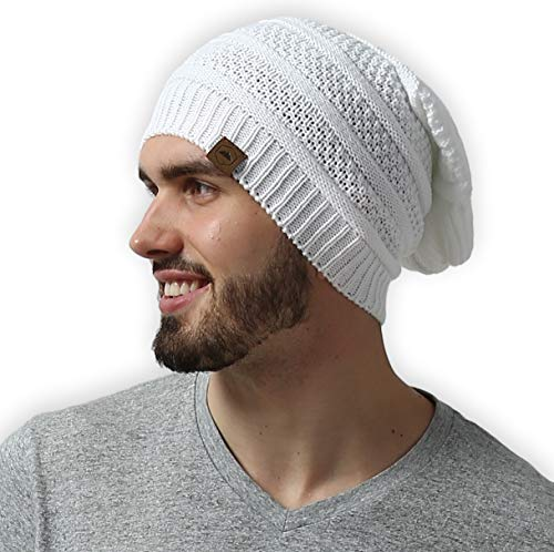 Slouchy Cable Knit Beanie - Chunky, Oversized Slouch Beanie Hats for Men & Women - Thick, Warm & Stylish Winter Hats - Serious Beanies for Serious Style
